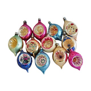 1950s Fancy Indent Christmas Ornaments w/Box - Set of 12