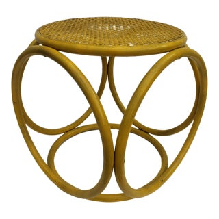Thonet Style Bentwood & Cane Yellow Painted Stool Side Table