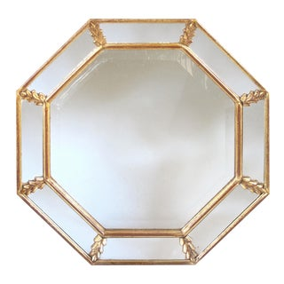 Shimmering French 1960s Giltwood Octagonal Mirror with Foliate Elements