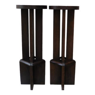 Art Deco Wood Geometrical Plant Stands - A Pair