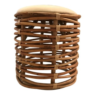 Bamboo and Rattan Upholstered Stool