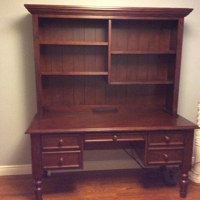 Ballard Designs Wooden Desk With Hutch - Image 2 of 6
