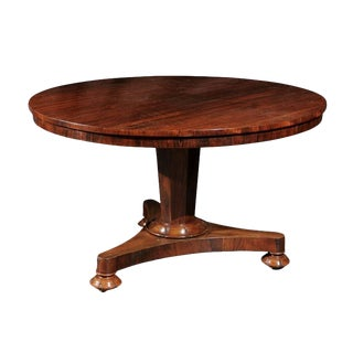 English Mid-19th Century Round Rosewood Pedestal Center Table with Tilt Top