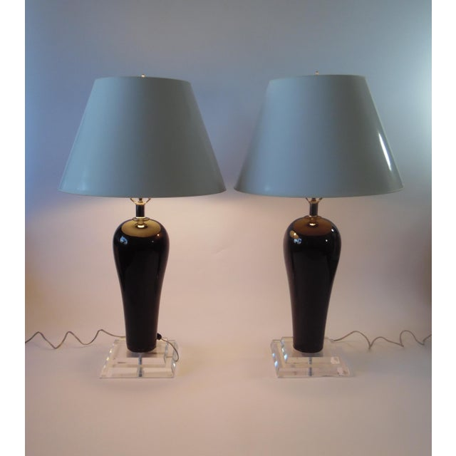 Mid-Century Lucite & Ceramic Table Lamps - A Pair - Image 2 of 9