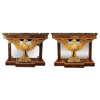 Pair of Monumental Federal Style Console Table with Carved Opposing Eagles