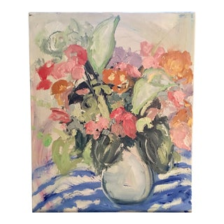 Floral in Blue Stripe Oil Painting by JJ Justice