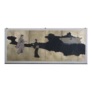 Edo Period Screen of a Foggy River with Three Figures