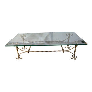 Spanish Gilded Wrought Iron & Glass Coffee Table