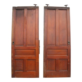 Vintage Carved Wood Roller Doors - A Pair