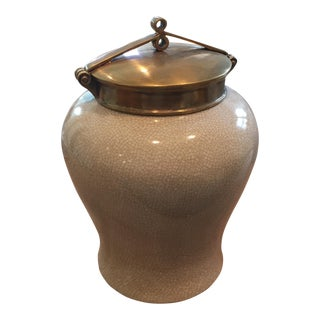 Ivory Crackle Glazed Brass Mounted Urn