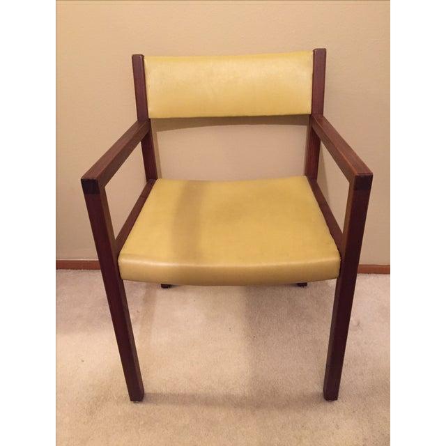 Mid-Century Danish Modern Vinyl And Walnut Chair - Image 2 of 5