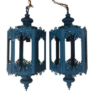 Turquoise Cast Iron Pagoda Chandeliers - A Pair