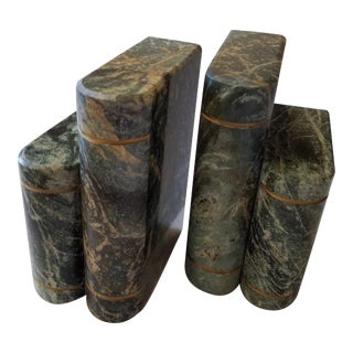 Vintage Carved Green Marble Book-Shaped Bookends - a Pair