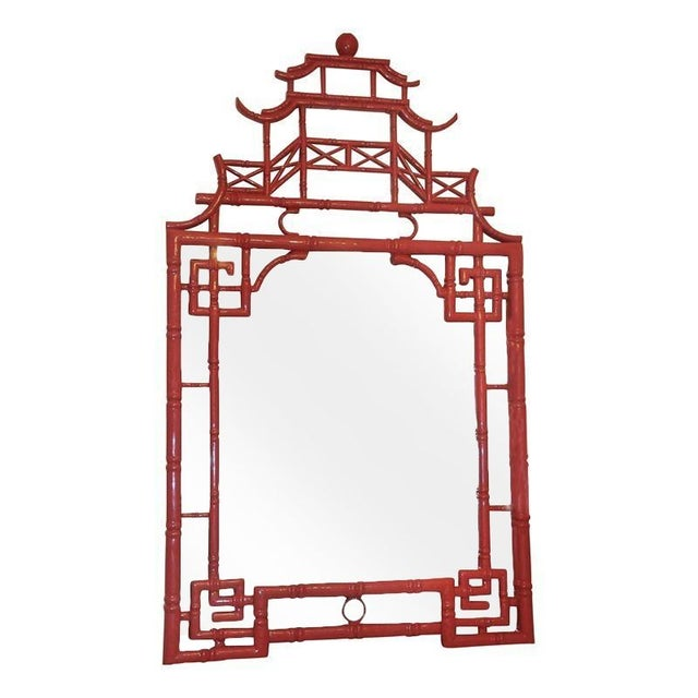 Large red asian pagoda style mirror chairish for Asian style mirror