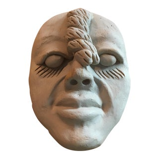 Vintage Outsider Clay Art Human Face Sculpture