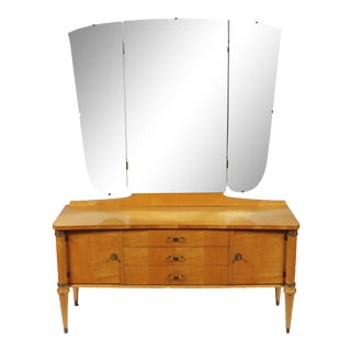 1930s Directoire Maple Dressing Table & Mirror