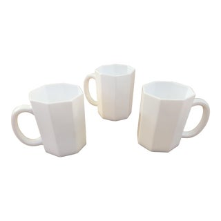 Octagonal Milk Glass Mugs - Set of 3