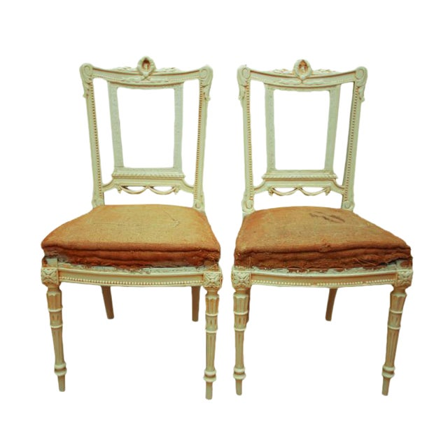Antique Gustavian Swedish Side Chairs - A Pair - Image 1 of 6 - Antique Gustavian Swedish Side Chairs - A Pair Chairish