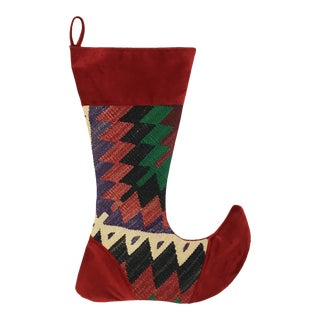 Large Kilim Christmas Stocking | Bells