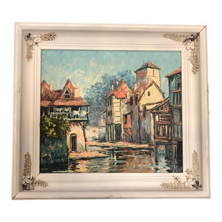 """Medieval Townscape Framed Oil Painting on Board - 20.5"""" x 8.5"""""""