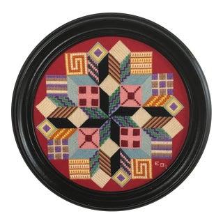 Vintage Round Geometric Needlework Textile Wall Art