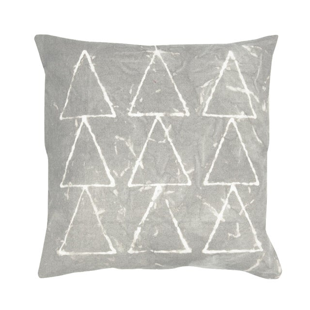 Hand Dyed Grey Geometric Pillow Cover - Image 1 of 7