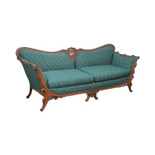 1930s Asian Influenced Rococo Carved Frame Sofa