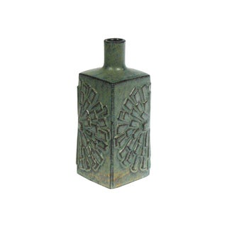 Japanese Red Clay Green Pottery Bud Vase