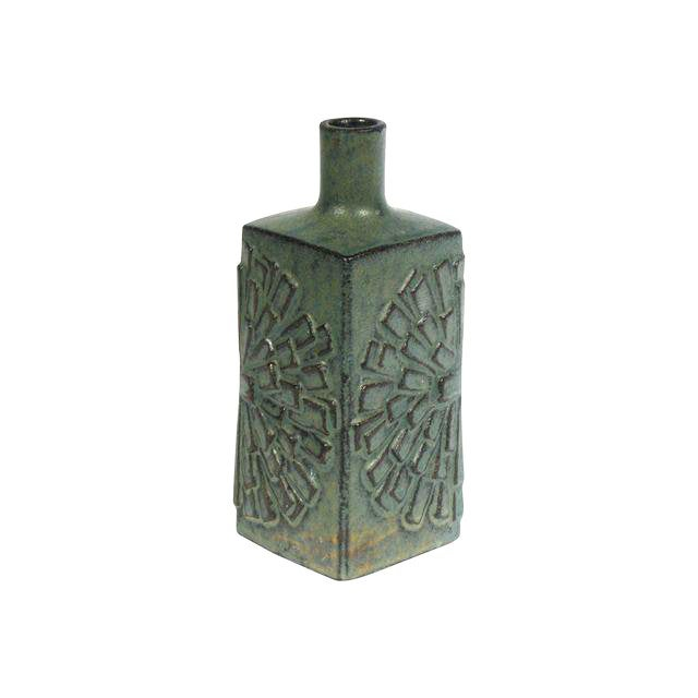 Image of Japanese Red Clay Green Pottery Bud Vase