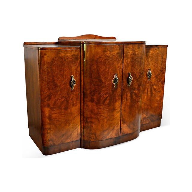 French Art Deco Burl Walnut Veneer Bar/Buffet - Image 8 of 8