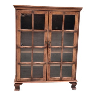 Vintage Distressed Glass & Wood Bookcase