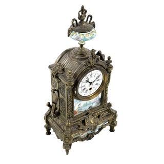 Antique Brass & Porcelain Mantel Clock