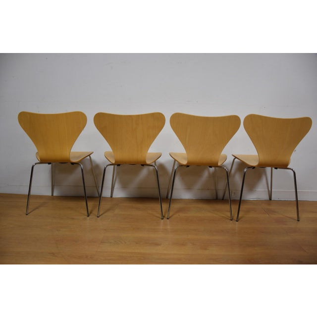 Arne Jacobsen Style Birch Dining Chairs - Set of 4 - Image 8 of 11