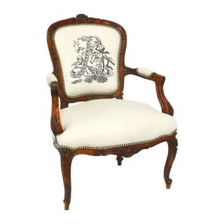 Antique French Carved Louis XVI Bergere Chair