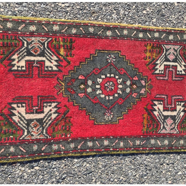 "Vintage Red Anatolian Persian Rug - 1'9"" x 3'3"" - Image 3 of 8"