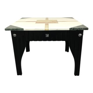 Art Deco Style Stone Top Accent Table
