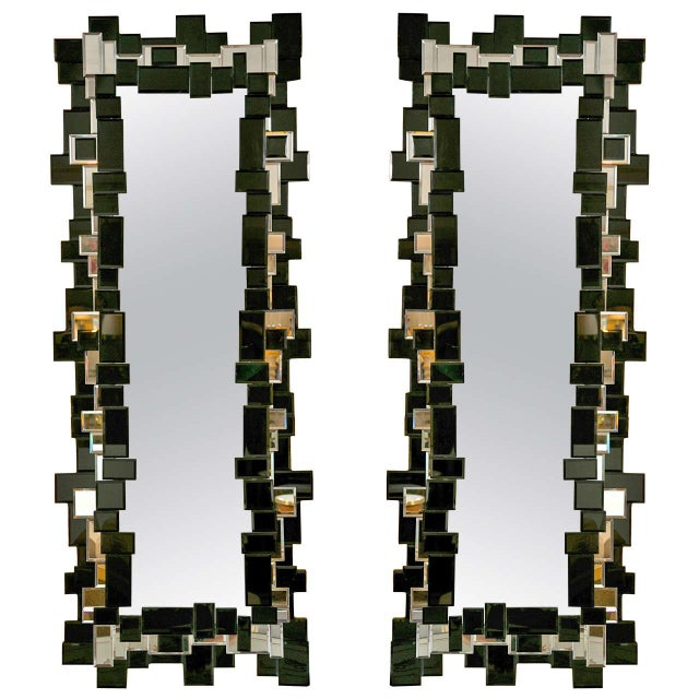 Decorative Oblong Mirrors - A Pair - Image 1 of 5