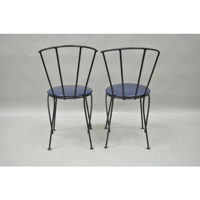 Mid-Century Modern Brutalist Iron Rebar Dining Chairs - Set of 4 - Image 10 of 11