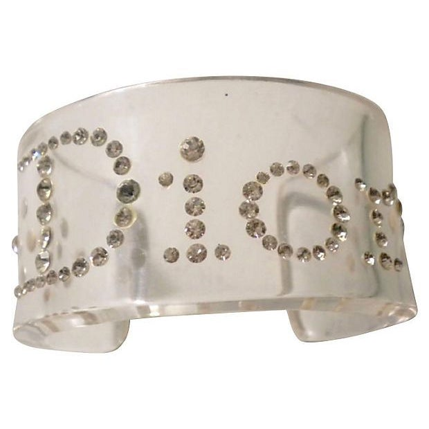 Image of Christian Dior Crystal & Lucite Cuff