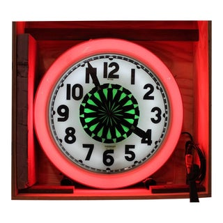 1930s Neon Cleveland Wall Hanging Clock