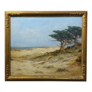 "Circa 1920s Angel Espoy ""Picturesque California Coastline"" Oil Painting"