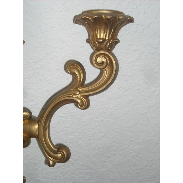 Midcentury Gold Candle Sconces - A Pair - Image 6 of 6