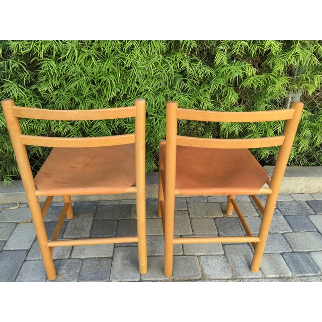 Perriand Style Birch & Leather Chairs - A Pair - Image 3 of 6