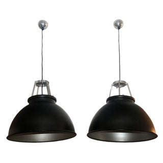 Pair of Industrial Style Light Fixtures, Black and Silver Metal, 1940s, France