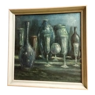 Mid-Century Modern Signed Still Life Oil on Canvas Painting
