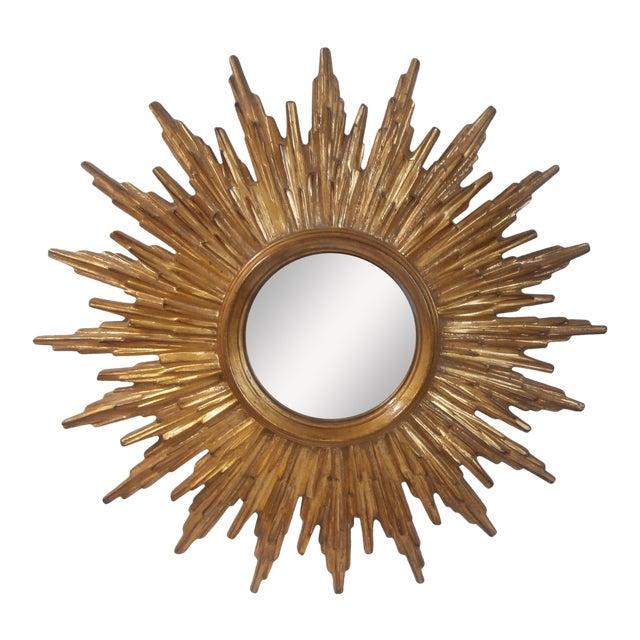 French Sunburst Gilded Wood Mirror - Image 1 of 4