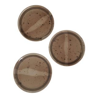 Vintage Mid-Century Stoneware Handmade Plates - Set of 3