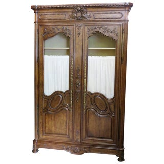 Auffray Style Carved Walnut Armoire