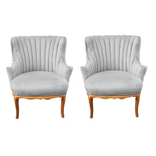 Velvet Silver Grey Wingback Chairs - Pair