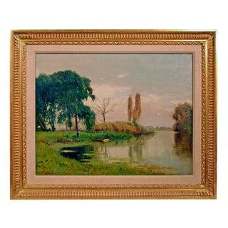 Ernest Parton, A River Landscape Painting, Oil on Canvas